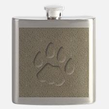 Cougar Mountain Lion Puma Tracks Flask