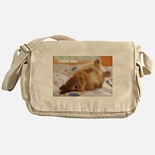 Cute bunny fell over Messenger Bag