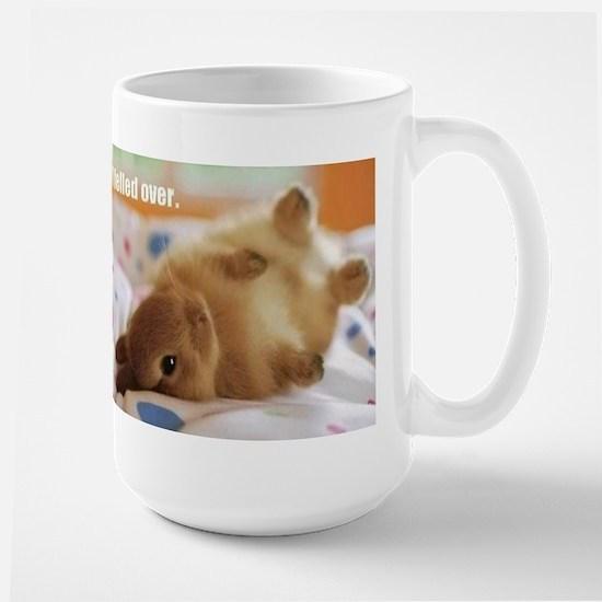 Cute bunny fell over Large Mug