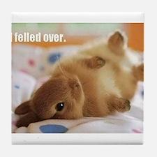 Cute bunny fell over Tile Coaster