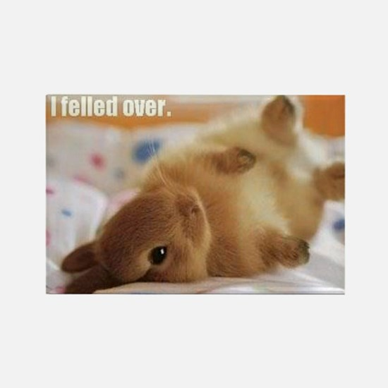 Cute bunny fell over Rectangle Magnet