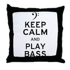 Keep Calm and Play Bass Throw Pillow