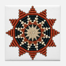 Native American Sunburst Rosette Tile Coaster