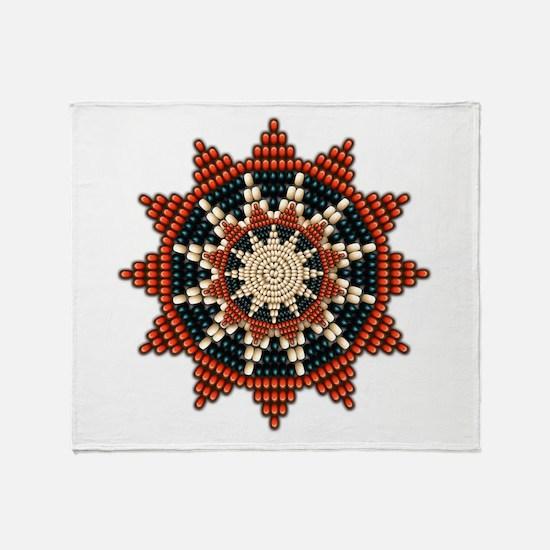 Native American Sunburst Rosette Throw Blanket