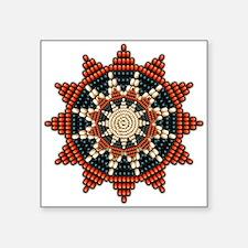 "Native American Sunburst Rosette Square Sticker 3"""