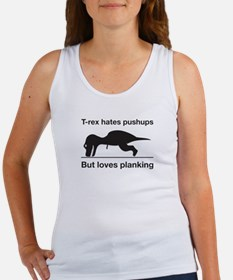 T-Rex Trying Pushups Women's Tank Top