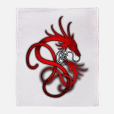 Norse Dragon - Red Throw Blanket