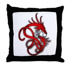 Norse Dragon - Red Throw Pillow