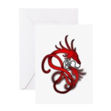 Norse Dragon - Red Greeting Card