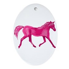 Pink Horse Ornament (Oval)