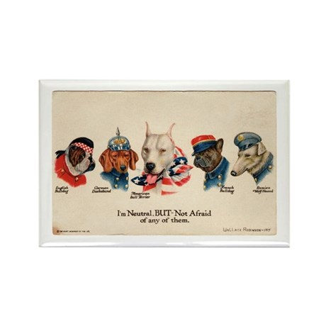 Patriotic Dogs WW1 Pit Bull Terrier Rectangle Magn