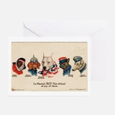 Patriotic Dogs WW1 Pit Bull Terrier Greeting Cards