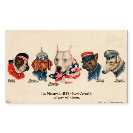 Patriotic Dogs WW1 Pit Bull Terrier Sticker (Recta