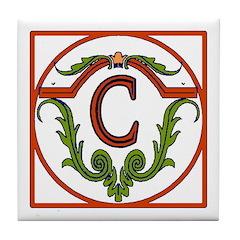Red Spanish Letter Tile C Tile Coaster