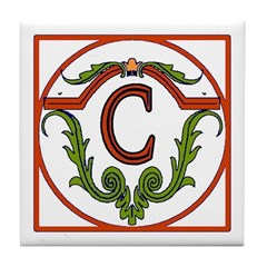 Red Spanish Letter Tile C Tile Coaster