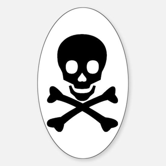 Skull & Crossbones Sticker (Oval)