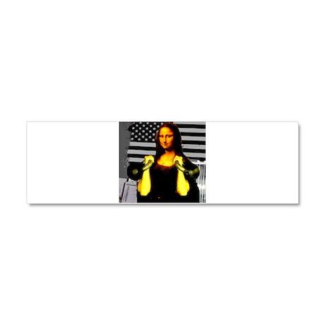 Mona Lisa Hits the Bells Car Magnet 10 x 3