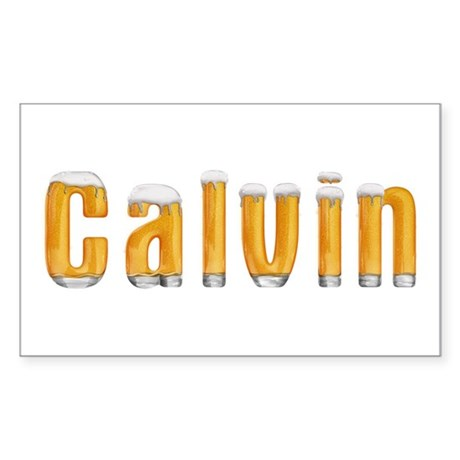 Calvin Beer Rectangle Sticker