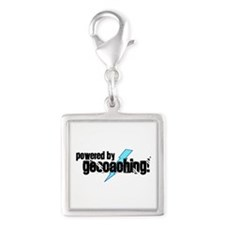 Powered By Geocaching Silver Square Charm