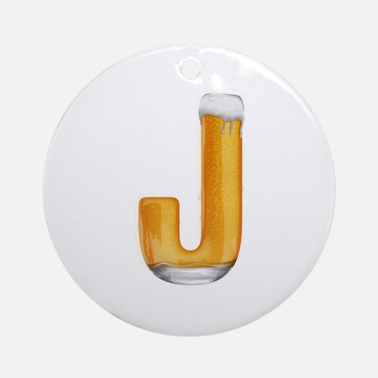 J Beer Round Ornament