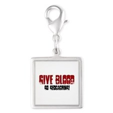 Give Blood! Silver Square Charm