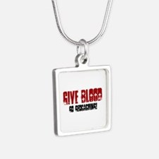 Give Blood! Silver Square Necklace