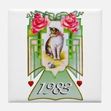 Art Deco Cat 1983, 30th Birthday Tile Coaster