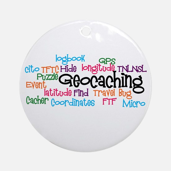 Geocaching Collage Ornament (Round)