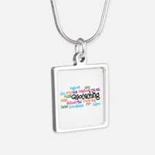 Geocaching Collage Silver Square Necklace