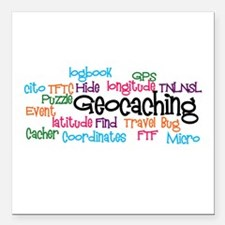 """Geocaching Collage Square Car Magnet 3"""" x 3"""""""