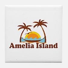 Amelia Island - Palm Trees Design. Tile Coaster