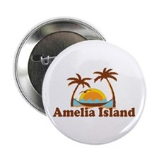"Amelia Island - Palm Trees Design. 2.25"" Button"