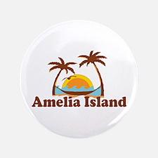 "Amelia Island - Palm Trees Design. 3.5"" Button"