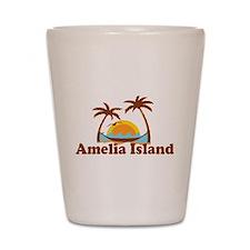 Amelia Island - Palm Trees Design. Shot Glass
