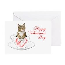 Teacup Cat Valentine Card