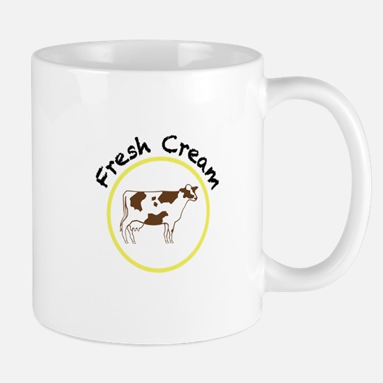 Fresh Cream with Black and Yellow Mug