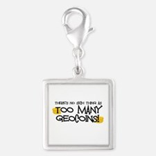 Too Many Geocoins Silver Square Charm