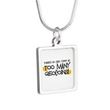 Too Many Geocoins Silver Square Necklace