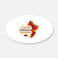 Liberian Boyfriend designs Oval Car Magnet