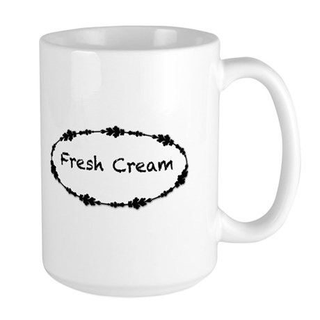 Fresh Cream with Black Border Large Mug