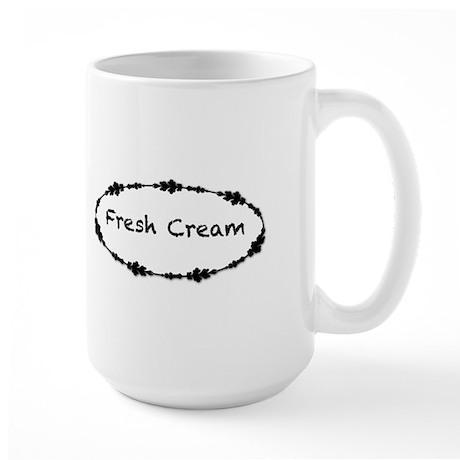 Fresh Cream with Black Border Large Mug