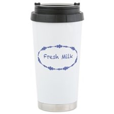Fresh Milk with blue flowers Travel Mug