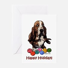Basset Hound Christmas Holiday Greeting Cards