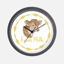 Fresh Milk with Baby Cow Wall Clock