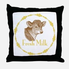 Fresh Milk with Baby Cow Throw Pillow