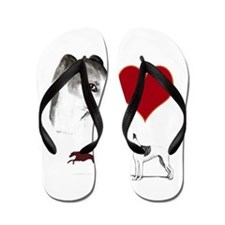 whippet valentine Flip Flops