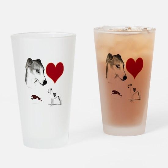 whippet valentine Drinking Glass