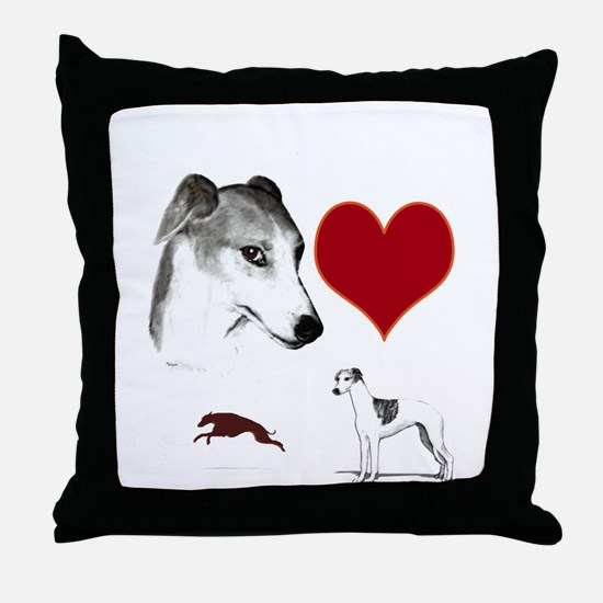 whippet valentine Throw Pillow