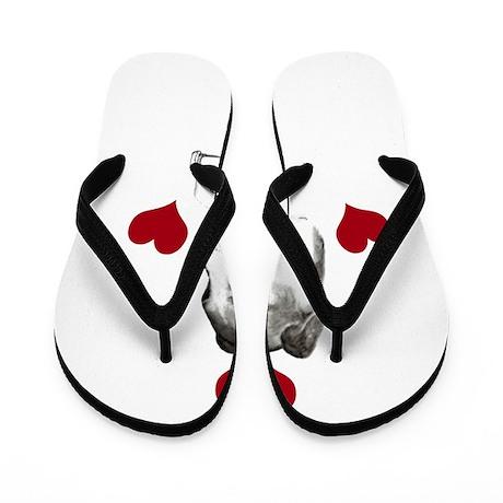 italian grey hound love n hearts Flip Flops