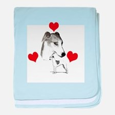 italian grey hound love n hearts baby blanket